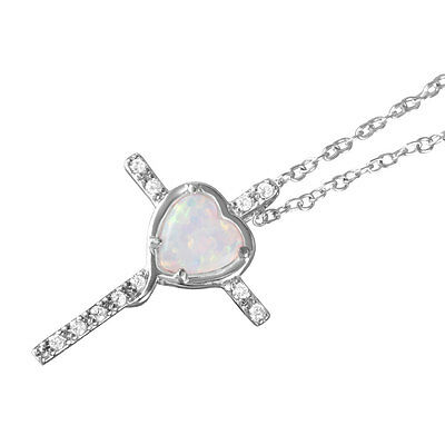 Sterling Silver Necklace w/Heart-shaped Synthetic Opal & CZ Stones CROSS Pendant