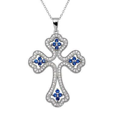 Sterling Silver Rhodium Plated Necklace w/ Blue & Clear CZ Stones Cross Pendant