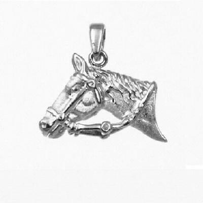"""Sterling Silver HORSE HEAD 3D Pendant / Charm, Made in USA,18"""" Italian Box Chain"""