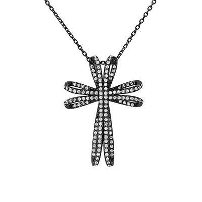 Sterling Silver Black Rhodium Plated Necklace w/ CZ Stones Double Cross Pendant