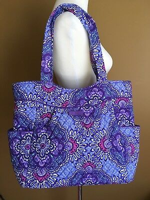 NWT Vera Bradley LILAC TAPESTRY Work Baby Pleated Tote Shoulder Full Fabric