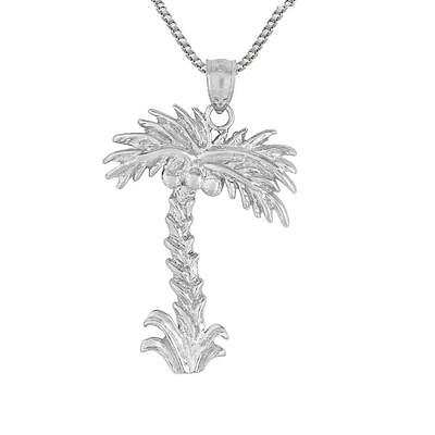 """Sterling Silver PALM TREE Pendant / Charm, Made in USA, 18"""" Italian Box Chain"""