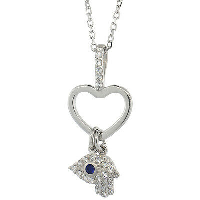Sterling Silver Cable Link Chain Necklace w/ Heart, Evil Eye & Hamsa CZ Pendants