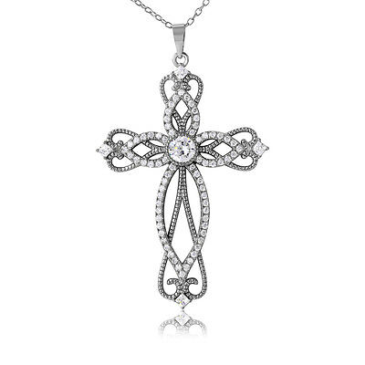 Sterling Silver Rhodium Plated Necklace w/ CZ Stones Designed Cross Pendant