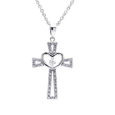 Sterling Silver Rhodium Plated Necklace w/ Heart & CZ Stones Cross Pendant