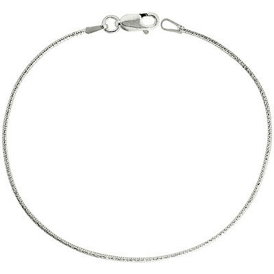 Sterling Silver 1 mm Diamond Cut Round Snake Chain Necklace or Bracelet