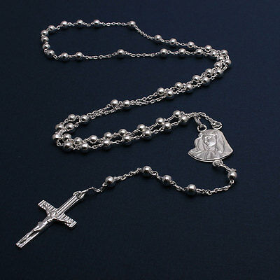 Sterling Silver 4mm Bead Rosary Necklace w/ Mother Mary & Drop Cross