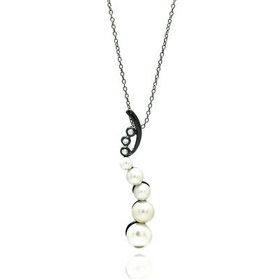 Sterling Silver Black Rhodium Plated Necklace w/ Pearl & CZ Stones Pendant