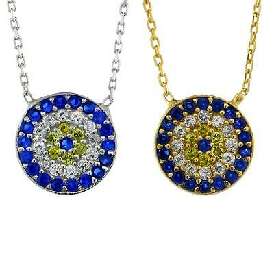 Sterling Silver Cable Link Chain Necklace w/ Round Evil Eye CZ Pendant