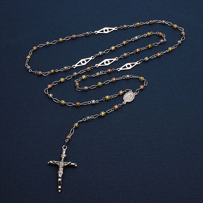 Sterling Silver 3 Toned 3mm Filigree Bead Rosary Necklace w/ Open Bar Separator
