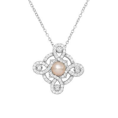Sterling Silver Rhodium Plated Necklace w/ Pearl & CZ Stones Cross Pendant