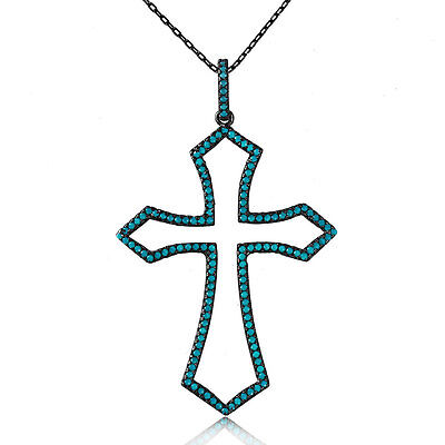 Sterling Silver Black Rhodium Plated Necklace w/ Turquoise Stones Cross Pendant