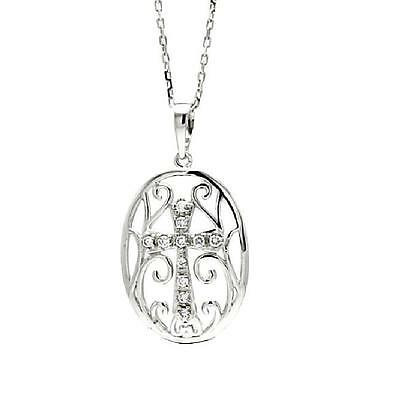 Sterling Silver Rhodium Plated Necklace w/CZ Stones Cross in Oval Disc Pendant