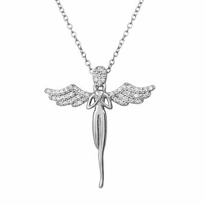 Sterling Silver Rhodium Plated Necklace w/ CZ Stones Angel Pendant