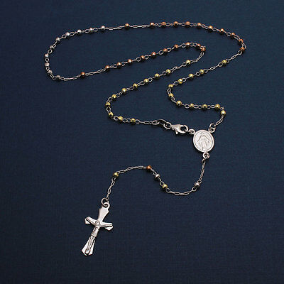 Sterling Silver 3 Toned 3mm Diamond Cut Bead Rosary Necklace