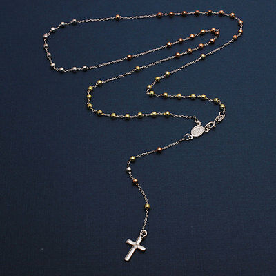 Sterling Silver 3 Toned 3mm Bead Rosary Necklace w/ Religious Charm & Drop Cross