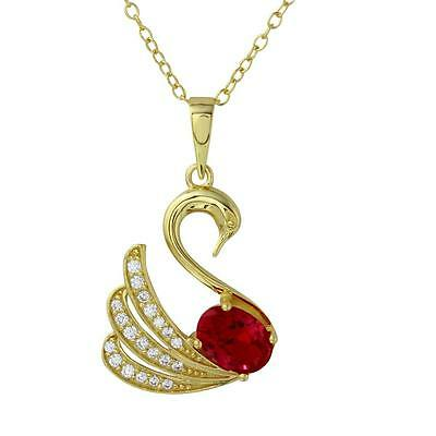 Sterling Silver Gold Plated Necklace w/ White & Red CZ Stones Swan Pendant