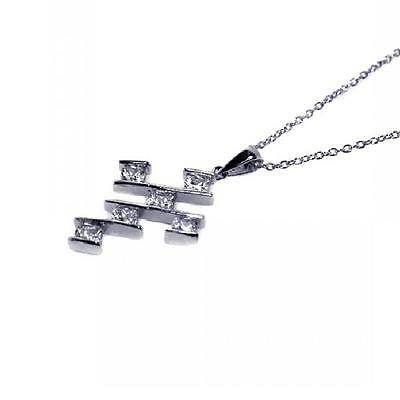Sterling Silver Rhodium Plated Necklace w/ CZ Stones Square Cross Pendant
