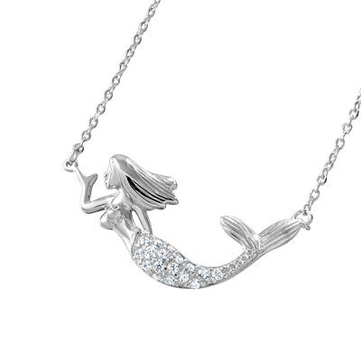 Sterling Silver Rhodium Plated Necklace w/ CZ Stones Mermaid Pendant