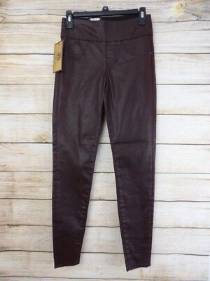 69616a966211a NWT Women's ROCK & REPUBLIC Brown FAUX LEATHER Pull On SKINNY Leggings ...