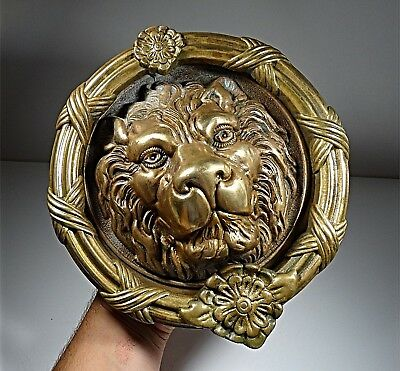 Antique our Vintage Large Solid Gilt Gilded Bronze Lion Head Door Knocker Ornate