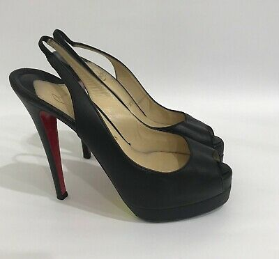 info for ad3c4 f295a CHRISTIAN LOUBOUTIN BLACK Leather High Heel Slingback Shoes Open Toe Pumps  US6.5