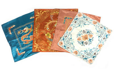 Lot of 4 Vintage Chinese SILK Ebroidery Pattern Multi-Color Square Pillow Cases