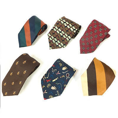 #05 Mixed Lot of 6 Vintage Men's Colored Red, Striped, Brown Dresswear Ties