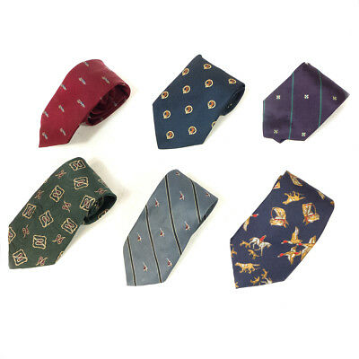 #04 Mixed Lot of 6 Vintage Men's Red, Blue, Purple, Green Patterned Color Ties