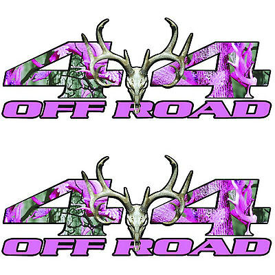New Pair 4x4 Off-Road Pink Muddy Camouflage Truck Bed Side Sticker Decals-T-11-3