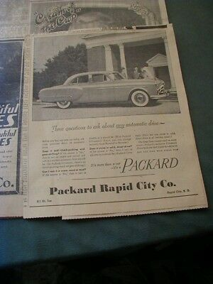 RARE 1951 Packard newspaper ad paper clipping local car dealer ad