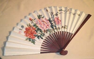 Vintage Chinese Bamboo Watercolor Painting HAND FAN Floral Theme 888s