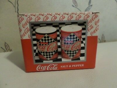 NEW Coca Cola Salt & Pepper Shakers Checkered Flag Diner Collection L@@K