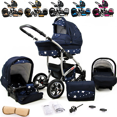 NEW Baby Pram For Newborn 3in1 Buggy Car Seat Carrycot Pushchair Travel System
