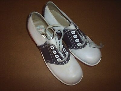 vtg NOS Saddle Shoes oxford cheerleader sock hop womens size 8aa NEW leather