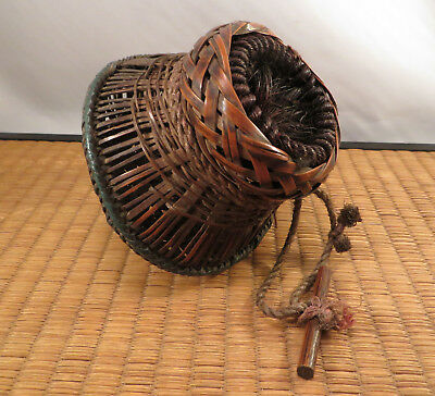 Antique Republic Period Chinese Bamboo Basket Cricket Cage Horse Hair 1920 China
