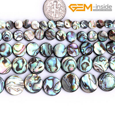 """Natural Coin Rainbow Abalone Shell Stone Beads For Jewellery Making Strand 15""""CA"""
