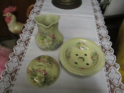 Vintage Allendale Potteries Covered Soap Dish and Toothbrush holder - England