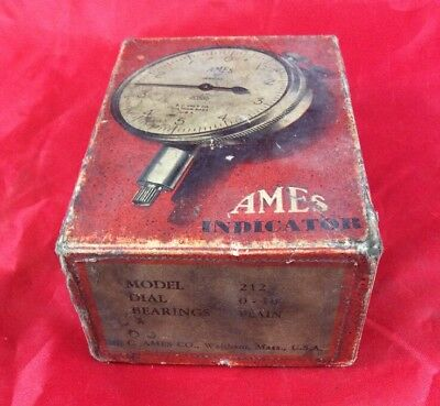 Vintage AMES No. 212 MICROMETER DIAL 1-10 INDICATOR WITH BOX