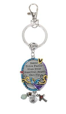 Never Drive Faster Than Your Guardian Angel Can Fly Key Chain w/ Clip
