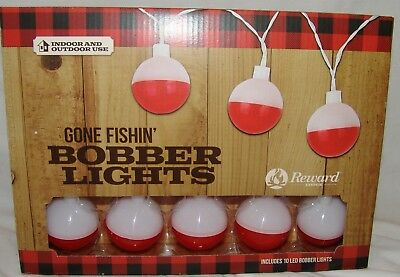 Gone Fishin' Bobber String Lights Fishing Patio Indoor Outdoor Lodge Man Cave