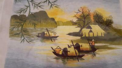 "Small Embroidered Asian Landscape Panel Art Hut 11X9"" Ready To Frame Vintage"
