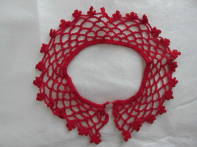 "RED LACE Child Size Crocheted COLLAR Handmade 22"" around, 13"" neck,2"" long,"