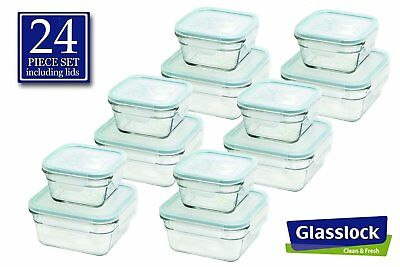 Glasslock Food-Storage Container Airtight Lids Microwave Safe 24pc Set in 3sizes