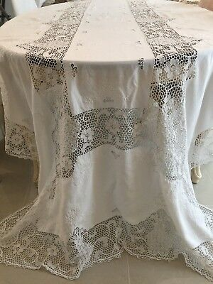 """VTG. LARGE Banquet Size Handmade Needle Lace and Embroidered Tablecloth 140""""X68"""""""