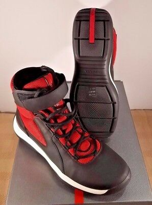 e0694eb6c8a87 Prada Black Red Punta Ala America s Cup Ankle Strap High-Top Sneakers Shoes  7.5