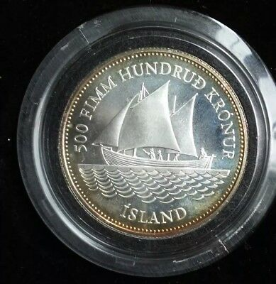 ICELAND 500 KRONUR 1986 SILVER. 100th Anniversary of Icelandic Banknotes