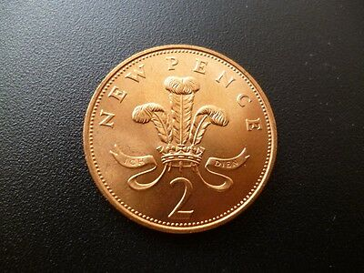 1971 Two New Pence Coin In Uncirculated Condition, First Issue Of Decimal 2P.