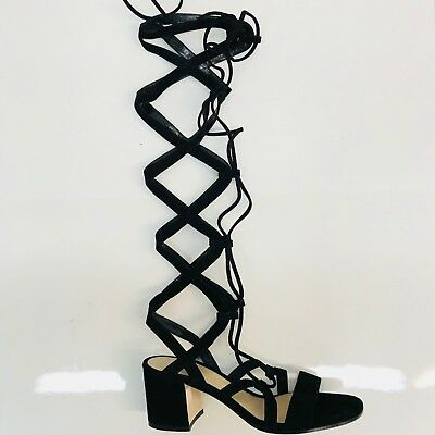 bad279be0f9 Gianvito Rossi Black Gladiator Lace-up Suede Sandals Size  EU 38 (Approx.