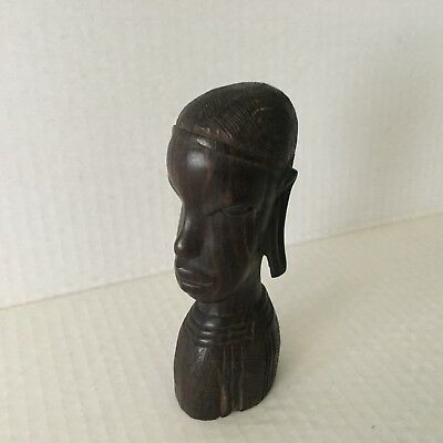 Mid Century Ebony Wood Female Figure Hand Carved in Kenya